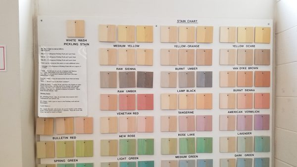 Paint swatches at the Art and Design Lab, part of the Health Maker Lab at Carle Illinois College of Medicine