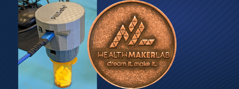 PillSafe Prototype with the Health Maker Lab coin
